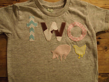Load image into Gallery viewer, Girls Barnyard Farm Animal Birthday Shirt Organic Blend Farm Party cow pint pig chicken chevron pola dot