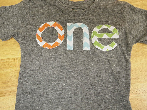 orange light blue and lime green chevron  Birthday Tee Organic Shirt Blend first birthday second Boys birthday shirt