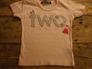 Girls Birthday Tee polka dot and hot pink shopping bag bow detail first second birthday etc pink shirt
