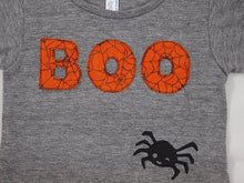 Load image into Gallery viewer, Halloween Shirt Childrens Halloween Tee BOO spider web available for baby toddler children