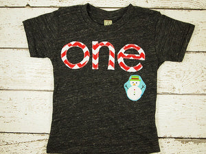 Snowman chevron Holiday Shirt Organic Blend Christmas Shirt Winter Theme using Candy Cane Red Winter Onederland Party