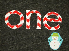 Load image into Gallery viewer, Snowman chevron Holiday Shirt Organic Blend Christmas Shirt Winter Theme using Candy Cane Red Winter Onederland Party