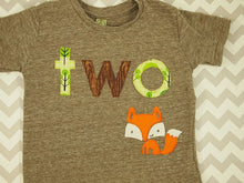 Load image into Gallery viewer, Fox shirt woodland themed birthday shirt toddler tee forest animal