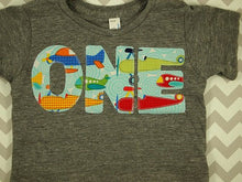 Load image into Gallery viewer, Airplane shirt Boys Birthday Tee Organic Blend Toddler Airplane birthday biplane vintage plane party
