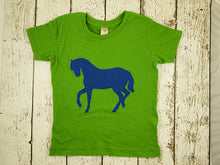 Load image into Gallery viewer, Horse Tee for boys or girls tshirt organic blend barnyard tee cowgirl cowboy colors can be cusotmized