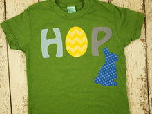 Load image into Gallery viewer, Easter bunny Easter egg HOP Easter shirt children's shirt chevron rabbit Boys and Girls tee customize colors prints etc infant toddler youth