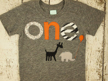 Load image into Gallery viewer, Zoo Animal Giraffe Elephant Tshirt Birthday shirt Customize colors Boys Girls Organic Blend Birthday Tee first birthday shirt