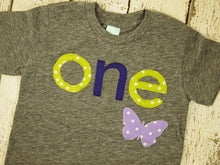 Load image into Gallery viewer, Butterly shirt polka dot Girls Birthday Shirt purple lime spring garden first birthday shirt second third