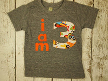 Load image into Gallery viewer, I AM 3 Construction Birthday Tee Organic Shirt Blend boys diggers trucks construction theme birthday