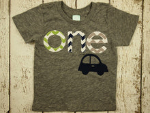Load image into Gallery viewer, Car Birthday Tee Organic Blend grey Shirt Boys Birthday Shirt little red car chevron