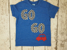Load image into Gallery viewer, Car Shirt Go Go Go race car Birthday Tee Organic Blend grey Shirt Boys Birthday Shirt little red car chevron