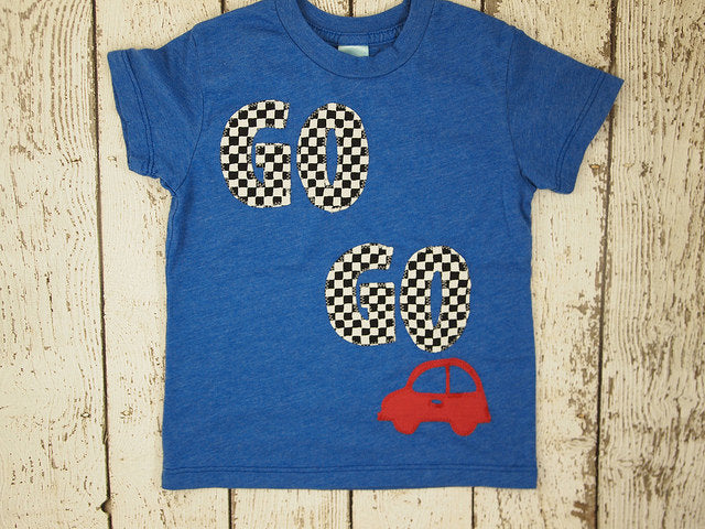 Car Shirt Go Go Go race car Birthday Tee Organic Blend grey Shirt Boys Birthday Shirt little red car chevron
