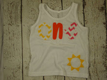 Load image into Gallery viewer, You are my sunshine birthday Yellow Chevron Sunshine Childrens shirt Birthday Sun applique Organic Shirt Blend first birthday second