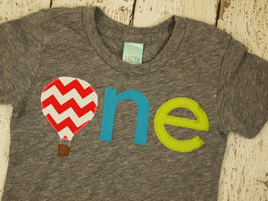 Hot air balloon shirt lowercase spring party colorful Birthday Tee Organic chevron first birthday shirt photo prop