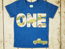 Load image into Gallery viewer, Vintage car and truck Birthday Shirt Organic Blend Black Shirt Truck Party