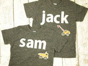 Construction themed name shirts persoanlized tees truck birthday shirt bulldozer excavator dump truck truck dirt party