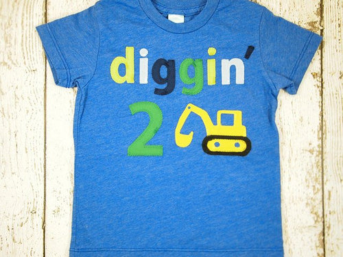 Diggin' shirt Construction Truck shirt excavator birthday number theme birthday party boys birthday shirt dirt party