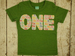 Alphabet Shirt  Birthday Tee Organic Shirt Blend boys girls birthday shirt first birthday second etc ABC's letters