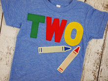 Load image into Gallery viewer, Crayon shirt Primary Colors Birthday Tee Organic Shirt Blend perfect for boys or girls all party themes first second third fourth