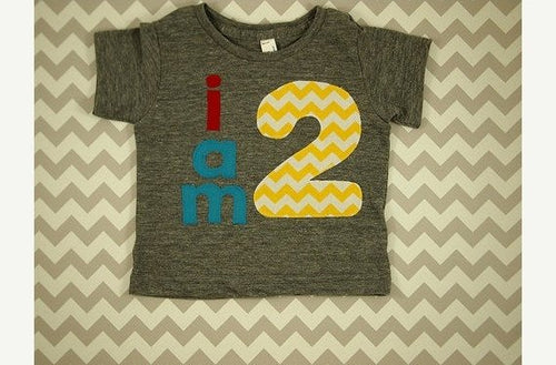 Ready to Ship second birthday shirt size 12/18 front and back design chevron blue red boys birthday shirt first birthd
