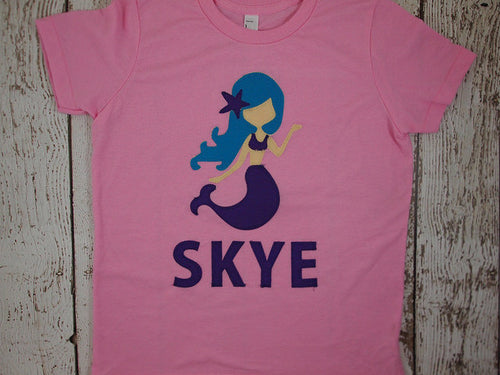 Mermaid shirt personalized girl's shirt custom made mermaid theme tee select shirt color fabric colors etc