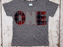 Load image into Gallery viewer, Red and Black Plaid and Houndstooth Shirt Birthday Tee Organic Shirt Blend Grey lumberjack plaid