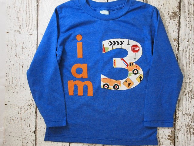 I AM 3 Construction Birthday Tee Organic Shirt Blend boys diggers trucks construction theme birthday