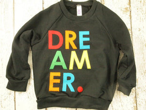 "Cool kid's sweatshirt ""Dreamer."" Children's shirt girl's and boy's shirt raindrop colorful hipster kid"