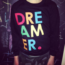 "Load image into Gallery viewer, Cool kid's sweatshirt ""Dreamer."" Children's shirt girl's and boy's shirt raindrop colorful hipster kid"