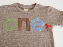 Load image into Gallery viewer, First Birthday Boy, Custom Birthday shirt, Woodland Birthday Shirt