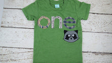 Load image into Gallery viewer, Raccoon shirt woodland themed birthday shirt toddler tee forest animal boys girls tshirt arrows woodgrain plaid