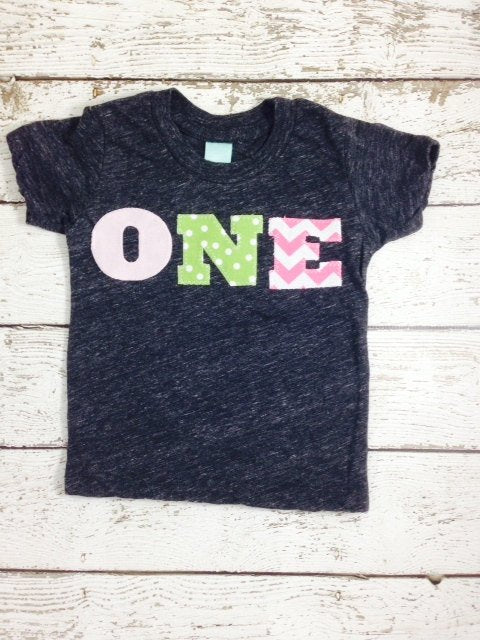 one simple heathered girls Birthday Tee pink chevron lime polka dot Organic Shirt Blend first birthday shirt first birthday shirt