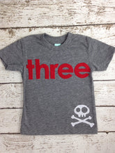 Load image into Gallery viewer, Pirate Birthday Shirt Boys Tee Organic Blend Burnout Tee Skull and Crossbones
