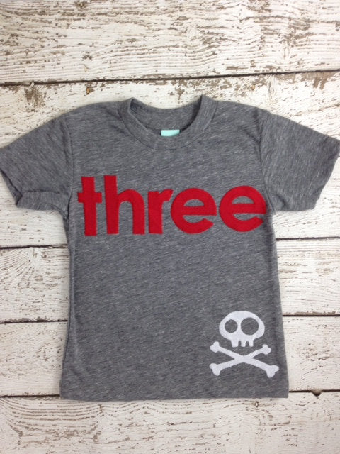 Pirate Birthday Shirt Boys Tee Organic Blend Burnout Tee Skull and Crossbones