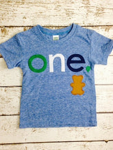Load image into Gallery viewer, Teddy Bear birthday shirt Customize colors Boys Girls Organic Blend Birthday Tee first second kid's t-shirt