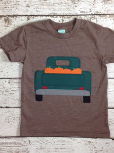 Fall harvest Halloween inspired children's shirt one of a kind kid's tee pick up truck pumpkin picking shirt any age