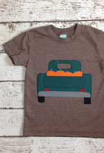 Load image into Gallery viewer, Fall harvest Halloween inspired children's shirt one of a kind kid's tee pick up truck pumpkin picking shirt any age