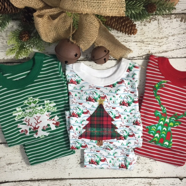 Holiday Pajamas Boys and Girls Christmas pj striped organic pajama set fair isle pajama design baby toddler children's pajamas Christmas pjs