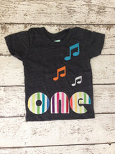 Load image into Gallery viewer, Music party music birthday Shirt Organic Shirt Blend music party boys girls music notes select preferred colors for any birthday
