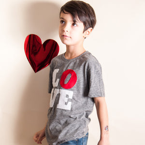 LOVE shirt kids too Valentine's Day shirt organic tee modern design Valentines Day shirt for Boys and Girls and Adults