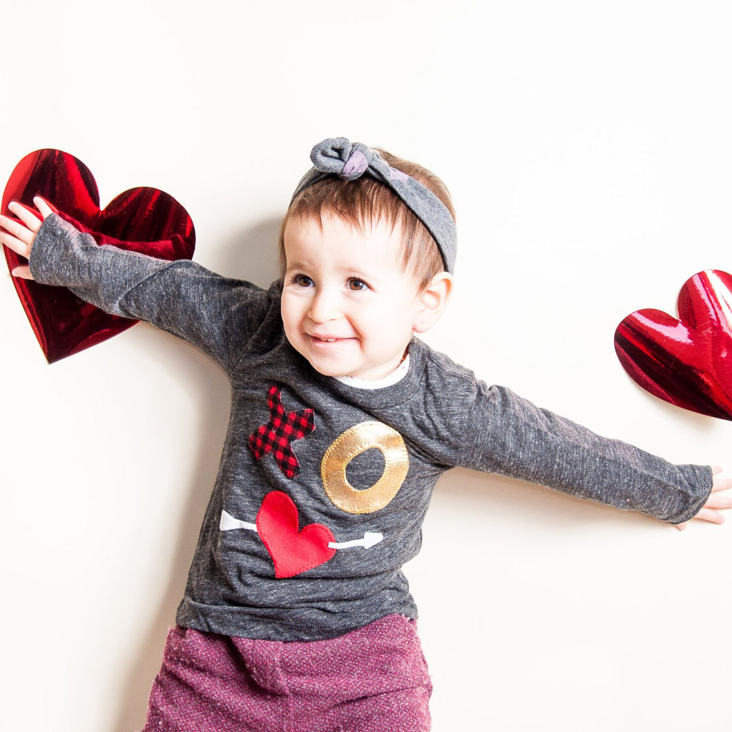 Valentine's Shirt Children's Valentine tee, XOXO, heart and arrow