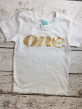 Load image into Gallery viewer, Girl's birthday shirt, sparkly birthday shirt, gold birthday