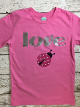 Load image into Gallery viewer, Valentine's Day Outfit, Girl's Valentine's Day shirt, LOVE Bug tee