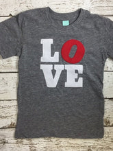 Load image into Gallery viewer, LOVE shirt kids too Valentine's Day shirt organic tee modern design Valentines Day shirt for Boys and Girls and Adults