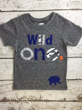 Load image into Gallery viewer, Wild one First birthday shirt Wild 1 animal print elephant shirt organic blend boys girl birthday tee custom shirt animal party zoo birthday