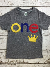 Load image into Gallery viewer, Little prince birthday shirt Fist birthday shirt can be created for any birthday, crown shirt, king of the party baby boy