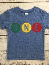 Load image into Gallery viewer, Primary Colors Birthday Tee Organic Shirt Blend perfect for boys or girls all party themes first birthday shirt second third fourth