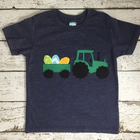Boy's Easter shirt, Easter eggs in tractor, tractor shirt