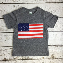 Load image into Gallery viewer, American Flag Shirt Organic blend tee red white and blue USA shirt American Flag perfect for Fourth of July