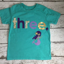 Load image into Gallery viewer, Mermaid Birthday Shirt, mermaid party,  organic tee